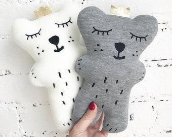 Neutral Sleepy Bear Soft Toy, Polar bear plush toy, Teddy bear, polar bear, bears, woodland animal, stuffed animal, Baby Shower gift, Plush