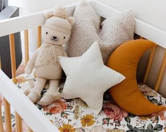 Caramel Moon shaped pillow, Natural Star decorative pillows, Star shaped pillow, kids pillow, Baby girl nursery decor, Kids room decor