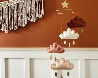 Rust, Ivory, Terracotta, Peach Baby Mobile, cloud mobile, Neutral nursery mobile, Neutral baby gift, Boho Mobile, Neutral Nursery Decor