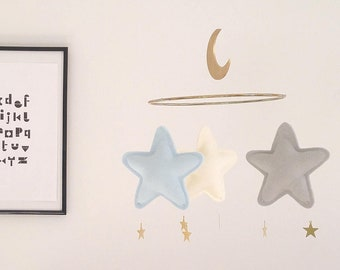 Baby Boy Crib Mobile. Blue Crib Mobile. Boy Nursery Mobile. Boy Baby Felt Ball Mobile. Blue Black Grey Cot Mobile. Baby Boy Shower Gift