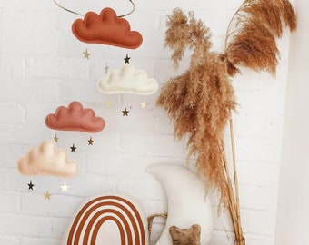 Rust Peach Baby mobile clouds, Gender neutral baby mobile, neutral boho style baby shower gift,nursery mobile, gold baby mobile, star mobile