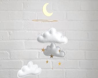 White and gold nursery, Cloud mobile, Neutral gender nursery, Star mobile, white baby mobile, mobile nursery, Baby mobile, monochrome mobile