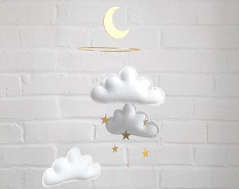 White and gold nursery decor, White Baby mobile, Cloud Mobile, Boy nursery decor, Star mobile, Twins nursery decor, Neutral Nursery decor