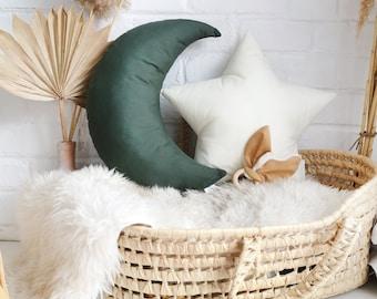 Woodland Green Moon Pillow, Dark green color canopy pillow, Forest Green Nursery Decor, Star decorative pillows, Star pillow, Baby boy