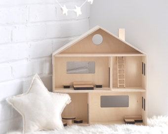 Wooden Dollhouse, Dollhouse, Dollhouse Furniture, Dollhouse Miniature,  Natural Dollhouse, Modern Dollhouse