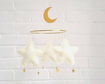 Star and Moon Baby mobile, Moon mobile, star, moon, mobile, Ivory baby mobile, nursery mobile, baby shower gift, Star Mobile, Baby Girl,