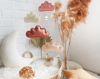 Blush, Ivory, Terracotta, Peach Baby Mobile, Boho Nursery Mobile, Cloud Mobile, Boho Nursery Decor, Canopy Mobile, Terracotta Nursery Decor