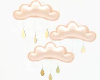 Peach Baby mobile, Peach cloud mobile, Peach nursery, baby mobile, Cloud mobile, chic nursery, baby girl nursery, nursery, baby gift, cot