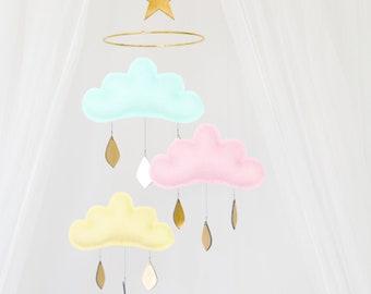 Pastel cloud mobile- Girl nursery mobile- baby girl gift- Ceiling Mobile-Baby mobile-scandi mobile- baby girl mobile- baby girl- mobile-cot