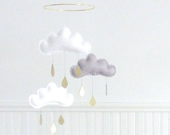 "Cloud Mobile ""Milan"" White,Grey,White cloud mobile for nursery with gold star by The Butter Flying-Cloud Mobile-star mobile-nursery decor"
