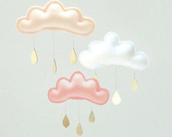 """Baby mobile-Peach, white and coral clouds and Star mobile for nursery """"CLAIRE"""" with gold star by The Butter Flying-Rain Cloud Mobile"""