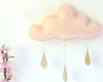 Spring Peach Cloud mobile, PEACH nursery with gold raindrops, The Butter Flying, Raincloud Mobile, Nursery, Children Decor, kids room.