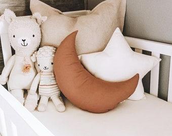 Terracotta Moon shaped pillow, Natural Star decorative pillows, Star shaped pillow, kids pillow, Baby girl nursery decor, Kids room decor