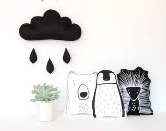 Black felt cloud, monochrome kids room decor, cloud cushion,kids decor, the butter flying,raindrops, black kidsroom