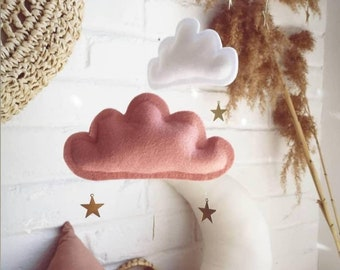 Blush Pink, Gold, White, Peach Cloud and Star mobile, Mobile for Baby Girl, Moon Nursery Decor, Baby Mobile , Cloud Mobile Nursery