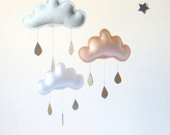 Blush Grey Baby girl mobile, Cloud mobile, Blush Grey Nursery, Nursery Decor, Blush Grey Gold Girl Nursery, Baby Girl Mobile,Baby Mobile
