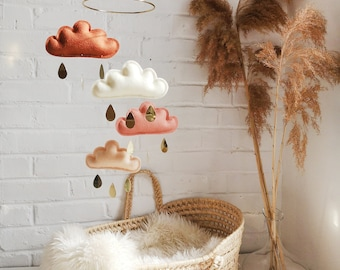 Rust, Ivory, Terracotta, Peach Baby Mobile, cloud mobile-Neutral gender nursery mobile-neutral baby gift, Boho Mobile-monochrome mobile-cot