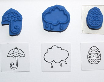 Mini Spring Easter Rubber Stamps - Umbrella, Cloud, Easter Egg, Decorated, Rain, Inchies, Scrapbooking, Card Making, Unmounted