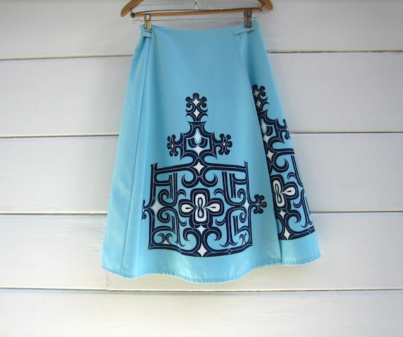 Mid Century Wrap Full Circle Skirt ~ Vintage Bagsh