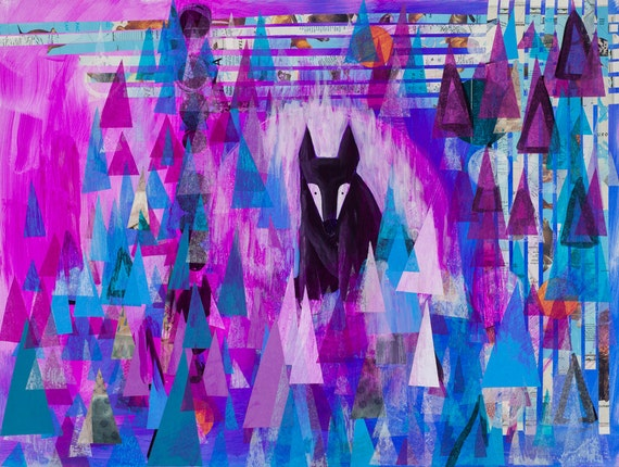 Lone Wolf Art Print Abstract Wall Art Modern Abstract Art Animal Wolves Foxes Black Fox Purple Abstract Landscape Art Illustratio