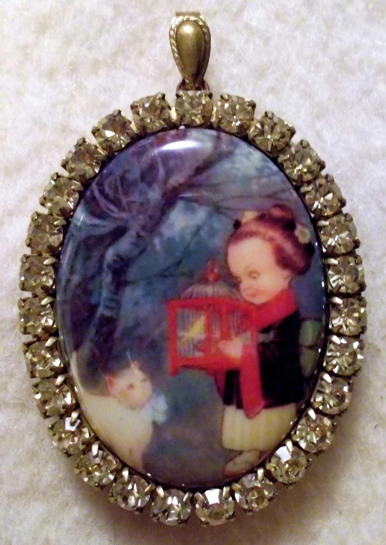 Victorian Girl Vintage Ephemera Locket Solid Brass Multi Chains Filigree Porcelain Cameo Necklace Pink Opal Glass Rhinestones Miss-art OOAK
