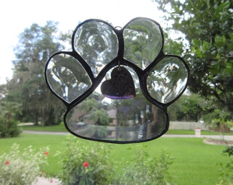 Puppy Paws Bevel Glass, puppy, paws, glass, stained glass, bevel, pet, dog, animal