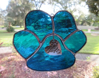 Remembrance Paw Silver Forever Heart Sun Catcher, Rainbow Bridge,  puppy paw, remembrance,  pet, animal, pet loss, pet loss gift