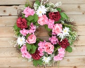 Spring silk wreath, spring artificial wreath, wedding door wreath, red and pink wreath