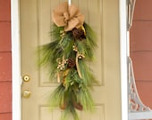 Artificial Pine and Gilded Magnolia Teardrop Wreath, holiday wreath for front door, Christmas teardrop, Christmas outdoor wreath