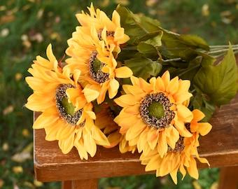 Silk sunflower bouquet, summer flowers, artificial  sunflowers, yellow flowers, large silk flowers