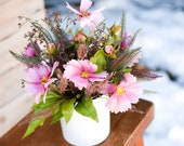 Last Minute Valentine's Day Gift, Silk Ferns and Wildflower Arrangement, Ready to Ship,  pink cosmos,  spring tabletop arrangement