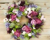 Premium Berry Peony and Cotton Wreath, spring wreath, wedding door wreath, Mother's Day wreath, purple and mauve wreath, purple and pink