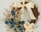 Blue and cream mini wreath, winter wreath, blue and ivory wreath, blue dried flower wreath, small blue wreath, winter, blue home decor