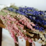 Bunch of larkspur, purple larkspur, pink larkspur, white larkspur, blue dried flowers, white dried flowers, pink dried flowers