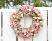 Strawflower Wreath, Mother's Day gift, colorful spring wreath, spring dried flower wreath, summer dried flower wreath