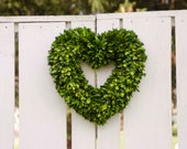"Preserved Boxwood Heart Wreath, heart wreath, 16"" wreath"