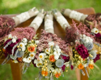 Dried flower bridesmaid bouquets, peony and safflower bouquet, orange and burgundy bouquet, fall wedding, fall bouquets, autumn wedding