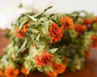 Bunch of Safflower, Dried Safflower, Orange dried decor, orange flowers, wedding decor, carthamus, dried carthamus