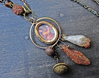 """Mixed media assemblage necklace with recycled vintage beads, amber, locket- """"Revelry"""""""