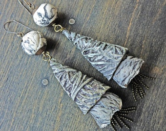 """Shoulder duster earrings, polymer clay cones, rustic handmade art jewelry by fancifuldevices - """"Pebbled Path"""""""