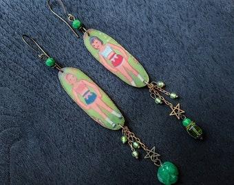Green retro resin earrings