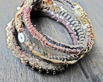 "Stitched textile bangle stack - Bohemian fabric bracelet set ""Mavourneen"""