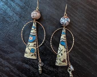 Long drop earrings, rustic organic.