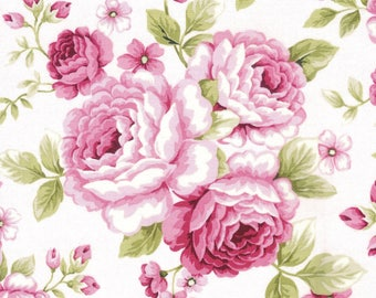 Stunning~Shabby Cottage Chic~Precut Quilt Kit Fabric~Roses~Pink & Green~QK#112