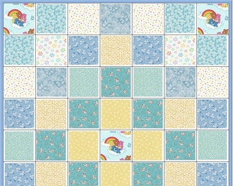 Care Bears and Kittens~Precut Quilt Kit~Baby Boy~Infant~Nursery~Hearts~Kittens~Dots and Daisies~QK#28
