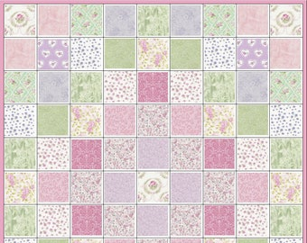 Romance~Shabby Cottage Chic~Pre cut Quilt Kit~Lavender~Pink~Green~Roses~Fabric~QK#64
