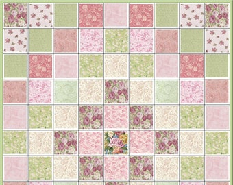 Rose Garden~Pre Cut Quilt Kit~Pink~Rose~Green~Cream~Paisley~Roses~Fabric~QK#41