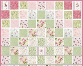 Shabby Chic My One True Love Quilt Kit~Pink Roses~Mary Rose~Green Paisley~Fabric~QK#133