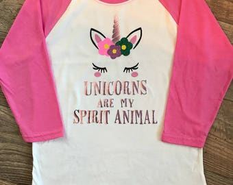 Unicorns are My Spirit Animal, Unicorn Tshirt, Girls Tshirt, Girls Baseball Tshirt,, Girls Unicorn Tshirt, Unicorn