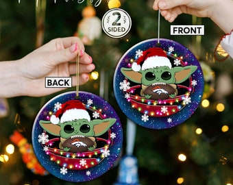 Denver Broncos Christmas Ceramic Ornament, Baby Yoda Denver Broncos Ornament, Baby Yoda Nfl Gifts, Denver Broncos Xmas Hanging Decor